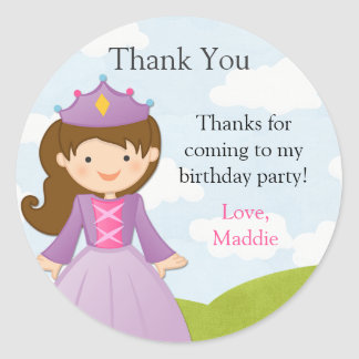 Princess and Knight Birthday Party Sticker