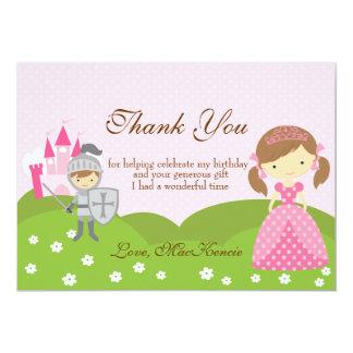 Princess and Knight birthday Thank you card
