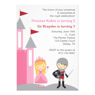 Princess and Knight Invitations Personalized Invitation