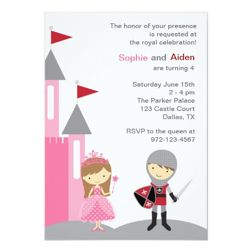 Princess and Knight Invitations
