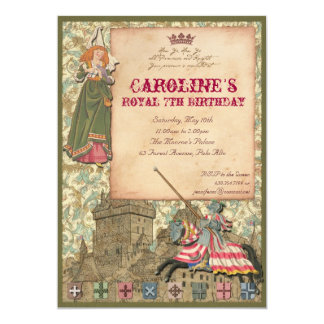 "Princess and Knight Party Invitation 5"" X 7"" Invitation Card"