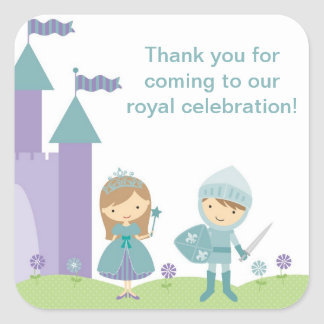 Princess and Knight Stickers Square Stickers