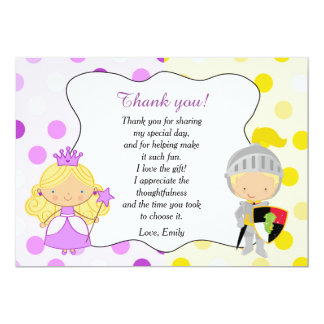 Princess and Knight Thank You Card