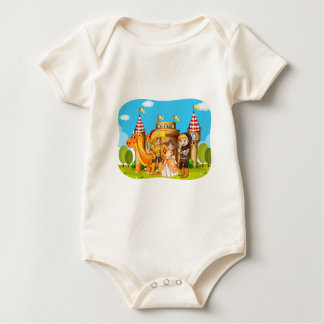 Princess and knights standing in front of the cast baby bodysuit