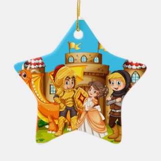 Princess and knights standing in front of the cast ceramic ornament