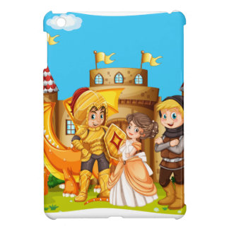 Princess and knights standing in front of the cast cover for the iPad mini