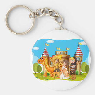 Princess and knights standing in front of the cast keychain