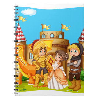 Princess and knights standing in front of the cast notebook