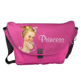 Princess and Pearls Hot Pink Baby Diaper Bag