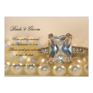 Princess and Pearls Wedding Save the Date 5x7 Paper Invitation Card