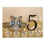Princess and Pearls Wedding Table Numbers Postcard