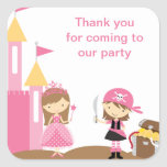 Princess and Pink Pirate Stickers Square Stickers