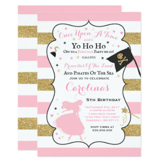 Princess and pirate invitations announcements zazzle princess and pirate birthday invitation stopboris