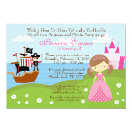 Princess pirate party invitations announcements zazzle princess and pirate birthday invitation filmwisefo Choice Image