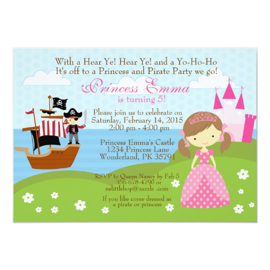 Princess and pirate birthday invitation zazzle princess and pirate birthday invitation filmwisefo