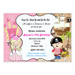 Princess and pirate invitations announcements zazzle princess and pirate birthday party invitation filmwisefo Choice Image