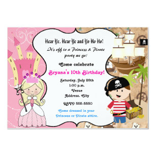 Princess and pirate invitations announcements zazzle princess and pirate birthday party invitation filmwisefo