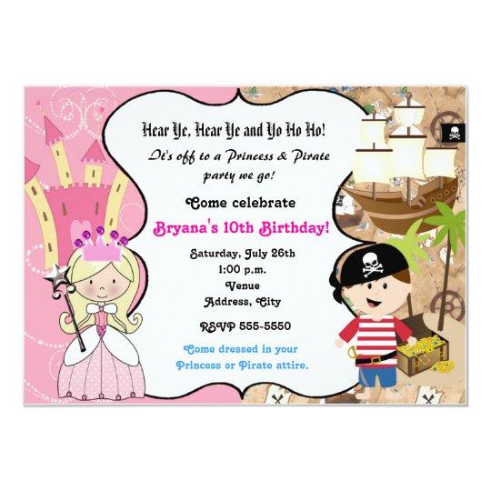 Princess and pirate birthday party invitation zazzle princess and pirate birthday party invitation filmwisefo