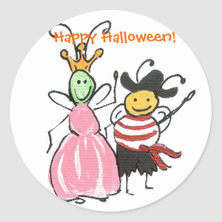 Princess and Pirate Halloween sticker