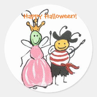 Princess and Pirate Halloween sticker