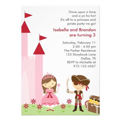 Princess and Pirate Invitation Personalized Invites