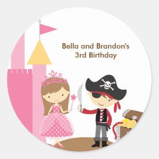 Princess and Pirate Stickers Round Stickers