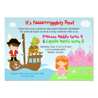 Princess and Pirate Twins Joint Birthday Party 5x7 Paper Invitation Card