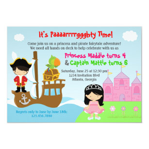 Princess and pirate invitations announcements zazzle princess and pirate twins joint birthday party invitation filmwisefo