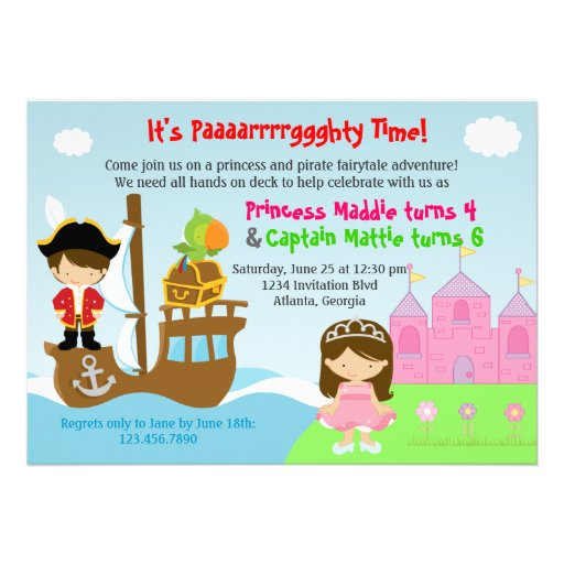 Princess and Pirate Twins Joint Birthday Party Personalized Announcement