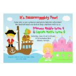 Princess and Pirate Twins Joint Birthday Party Personalized Invitation