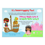 """Princess and Pirate Twins Joint Birthday Party 5"""" X 7"""" Invitation Card"""