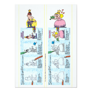 Princess and prince bookmarks 6.5x8.75 paper invitation card