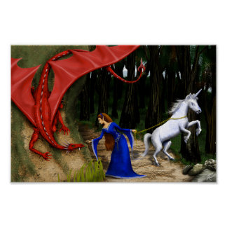 Princess and the Dragon 12 x 8 Poster