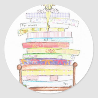 princess and the pea classic round sticker