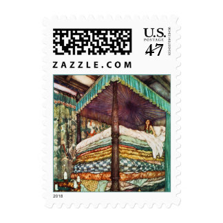 Princess and the Pea Fairy Tale Illustration Postage Stamp