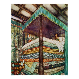 Princess and the Pea Fairy Tale in Vibrant Color Poster