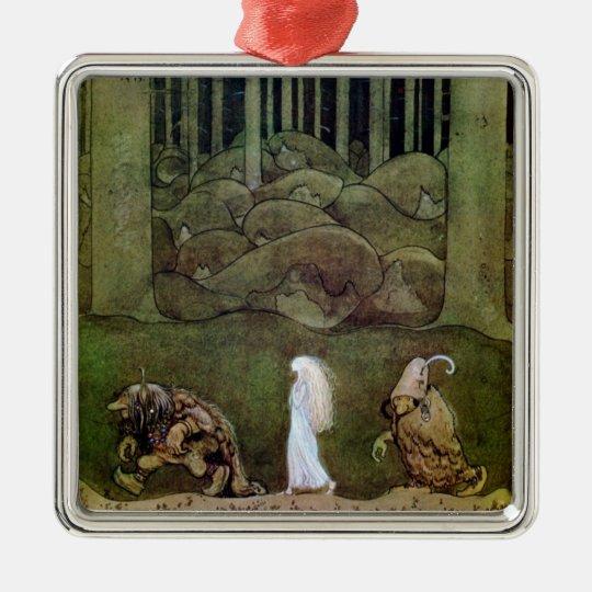 Princess and Trolls Walk Through Forest Metal Ornament
