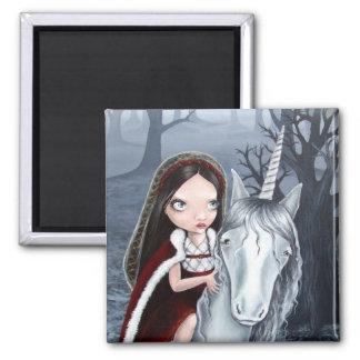 Princess and Unicorn 2 Inch Square Magnet