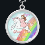 """Princess and Unicorn Necklace<br><div class=""""desc"""">Personalize this magical princess and unicorn necklace with your own name and text.</div>"""