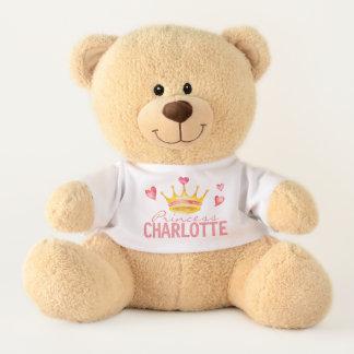 Princess ANY NAME Cute Personalized Hearts & Tiara Teddy Bear