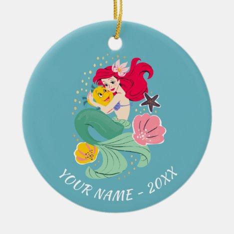 Princess Ariel Holding Flounder Illustration Ceramic Ornament