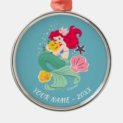 Princess Ariel Holding Flounder Illustration Metal Ornament