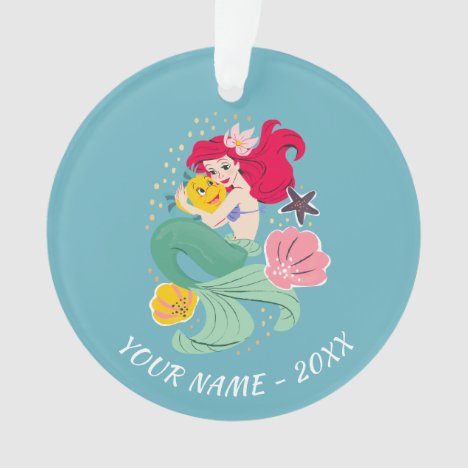 Princess Ariel Holding Flounder Illustration Ornament