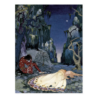 Princess Asleep in Forest Postcard