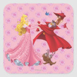 Princess Aurora and Forest Animals Square Sticker