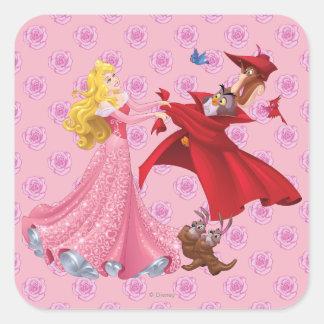 Princess Aurora and Forest Animals Square Sticker