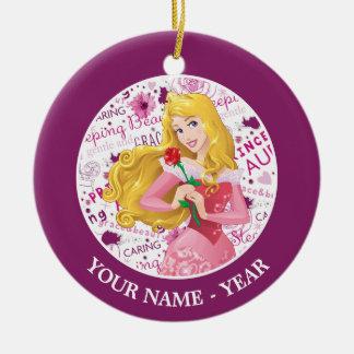Princess Aurora   Aurora Holding Rose Add Your Nam Ceramic Ornament