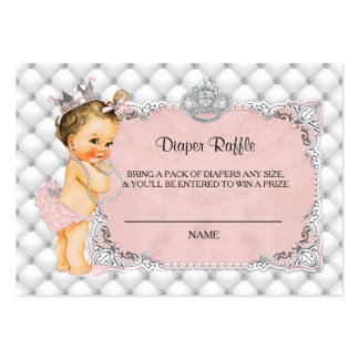 Princess Baby Diamonds Pearls Diaper Raffle Ticket Large Business Card