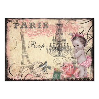 Princess Baby Eiffel Tower & Chandelier RSVP Card
