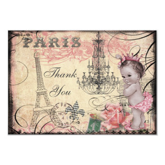 Princess Baby Eiffel Tower & Chandelier Thank You 3.5x5 Paper Invitation Card